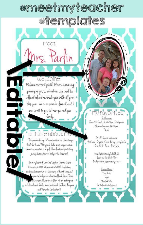 Meet the teacher, Templates and The teacher on Pinterest