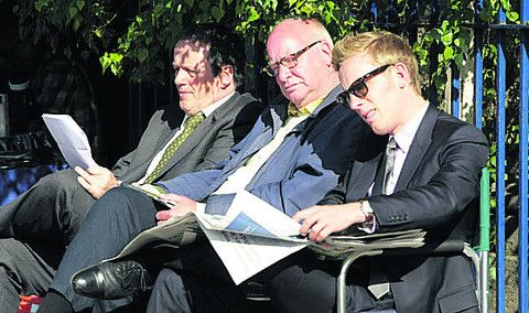 Between takes: Kevin Whately, Laurence Fox & producer Chris Burt: