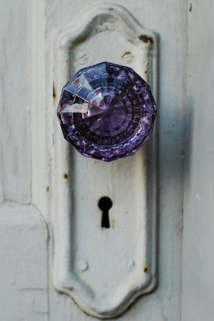 Purple Home Decor Door Knob Glass Knob Plum Violet Painted White Vintage Old