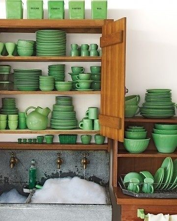 green dishes for white food: