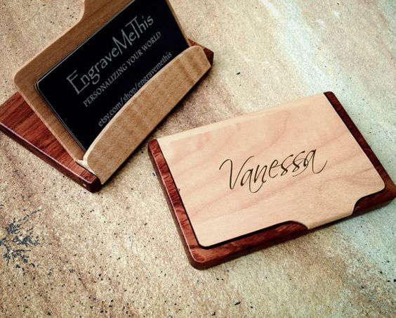 Business Card Case, Personalized Wood Case, Custom Engraved Card Holder, Maple & Rosewood, Father's Day, Promotion, Graduation, Recognition: