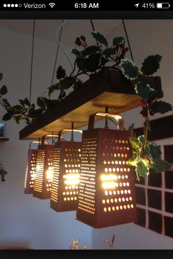 Cheese Grater Kitchen Light Fixture Vintage Rustic Home Decor Pinterest Cheese Grater