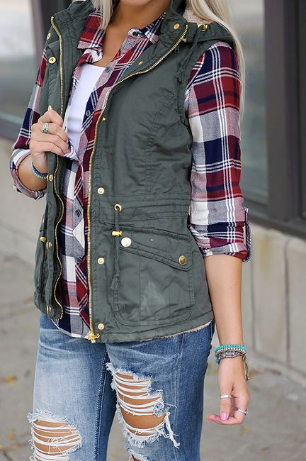 I love the plaid, vest combo for fall.:
