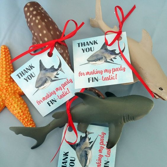 "Shark Birthday Party Favor Tags ""Thank You for making my party FIN-tastic!"" 