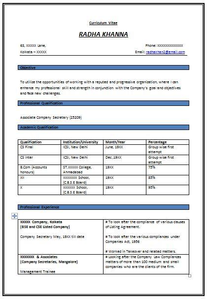 company resume format resume format