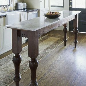 Narrow Island For Small Kitchen Legs Amp Lace Fretwork For Island Table Bathroom Pinterest