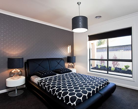 Monochromatic Design Black with White Accents Bedroom Pendant Light Wallpaper and Table Lamps