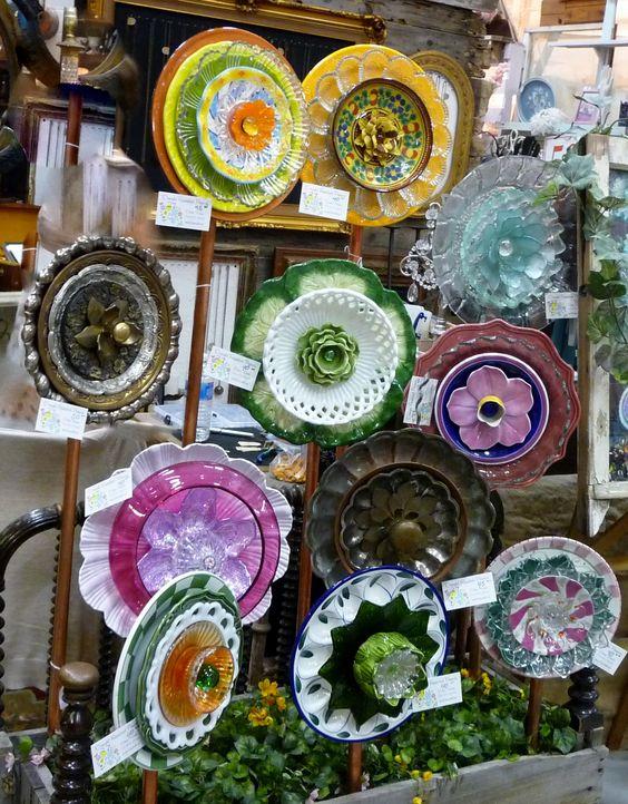 Plate Flower Bed. 257. Garden Yard Art glass and ceramic