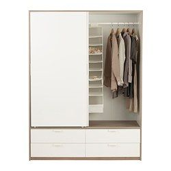 TRYSIL Wardrobe W Sliding Doors4 Drawers Whitelight