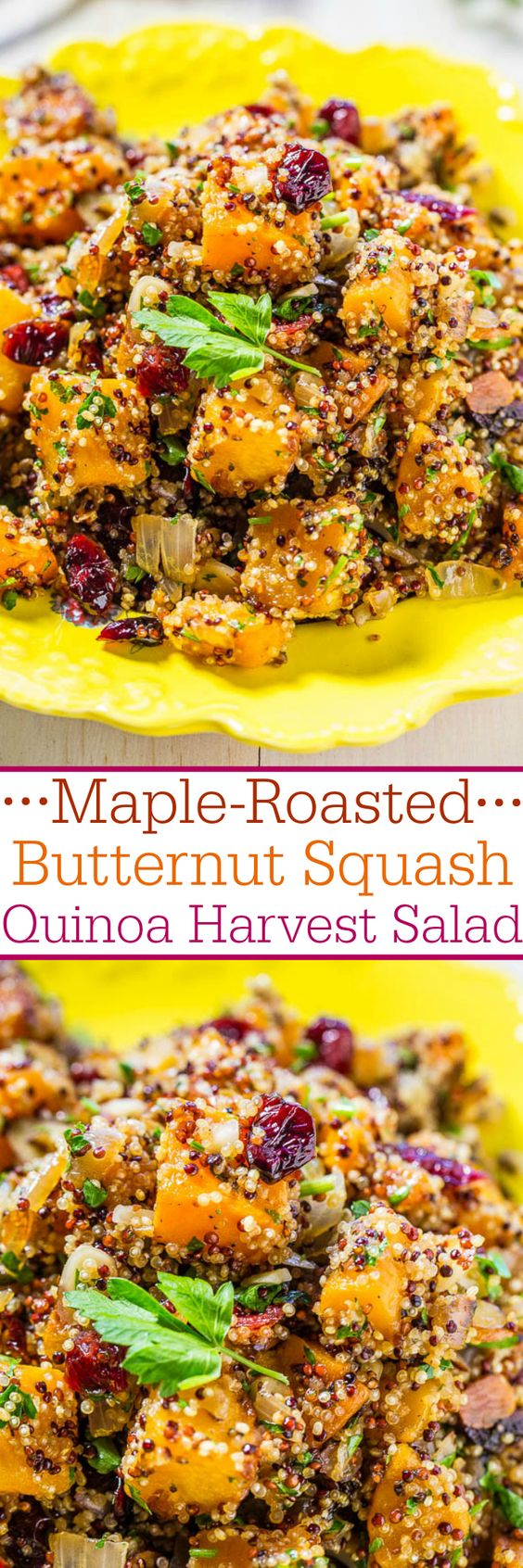 Maple-Roasted Butternut Squash Quinoa Harvest Salad Vegetable Side Dish Recipe via Averie Cooks - Easy and packed with big fall flavors!! Maple syrup, squash, and cranberries were made for each other! Love it when healthy tastes so good!!