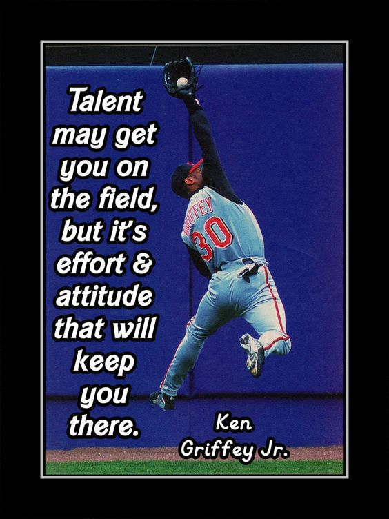 "Baseball Motivation Poster Ken Griffey Jr Photo Quote Wall Art 5x7""- 11x14"" Talent May Get You On Field But Effort & Attitude -Free USA Ship by ArleyArt on Etsy:"