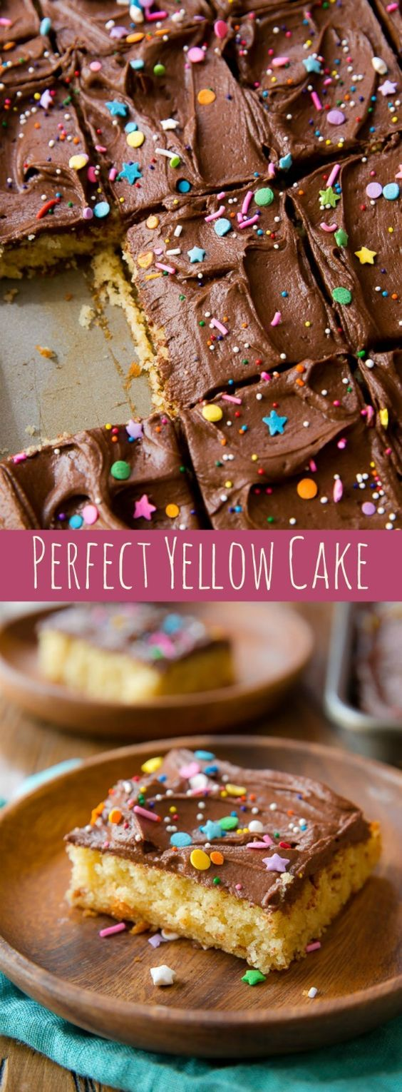 Yellow Sheet Cake with Chocolate Fudge Frosting Dessert Recipe via Sally's Baking Addiction - What I love most about this perfect yellow cake is that it's EASY! Quick, simple, buttery, and rich! The Best EASY Sheet Cakes Recipes - Simple and Quick Party Crowds Desserts for Holidays, Special Occasions and Family Celebrations