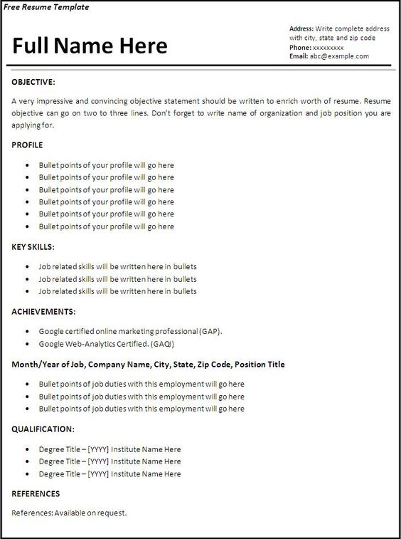 job resume resume and resume templates on pinterest