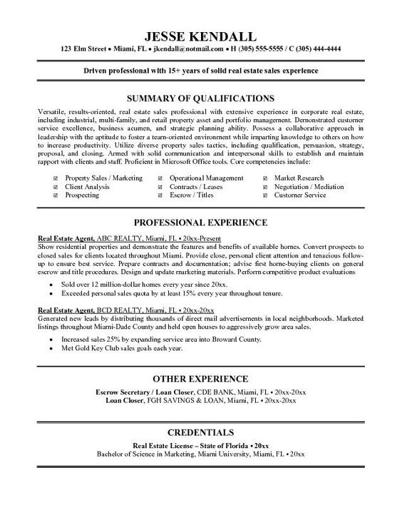 Real Estate Agent Resume Example Right Of Way Truwork Co