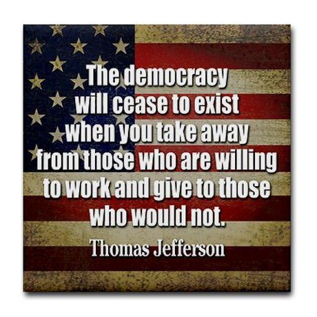 'Jefferson: Democracy Will Cease To Exist Tile Coa Tile Coaster by MarshEnterprises: