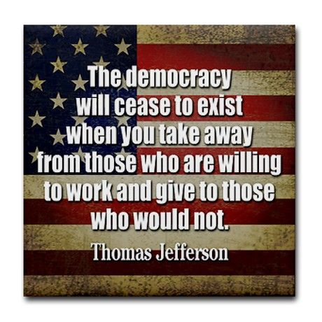 'Jefferson: Democracy Will Cease To Exist Tile Coa Tile Coaster by MarshEnterprises: