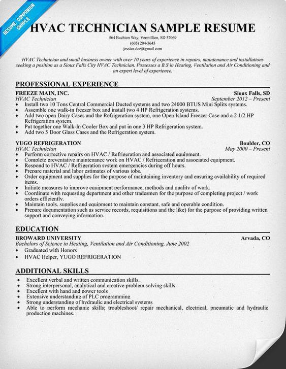 Hvac Technician Resume Sample. Hvac Resumes Hvac Resume Examples