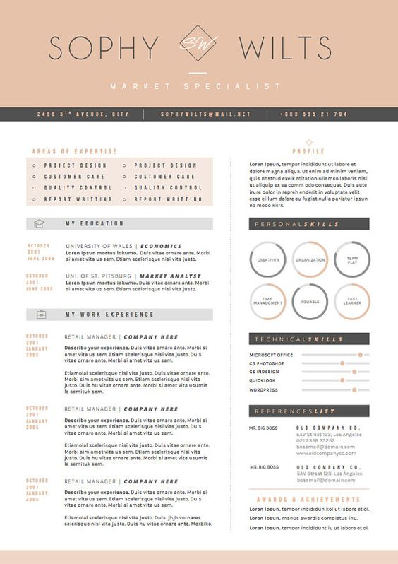 cv template resume templates and cover letters on pinterest