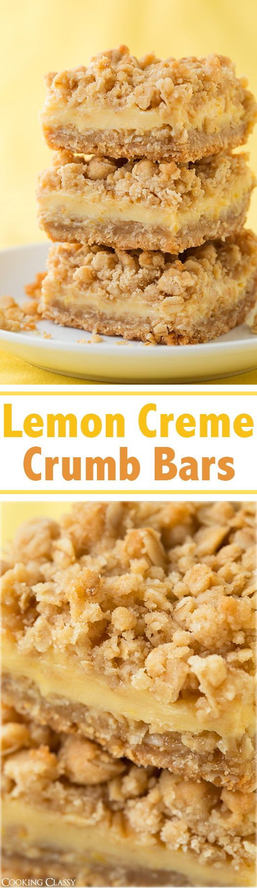 "Lemon Creme Crumb Bars Recipe via Cooking Classy - ""these are probably my favorite bars I've ever had (these and the creme brulee cheesecake bars I made). So amazingly good!!"" The BEST Easy Lemon Desserts and Treats Recipes - Perfect For Easter, Mother's Day Brunch, Bridal or Baby Showers and Pretty Spring and Summer Holiday Party Refreshments!"