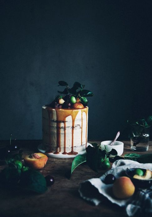 Call me cupcake: Brown butter chocolate chip cake with bourbon caramel frosting: