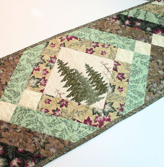 Quilted Country Table Runner Green And Tan With Pine Trees