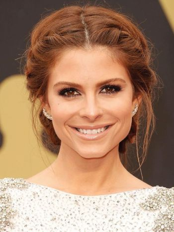 Maria Menounos with a Middle Part updo. I wanna do this for Sunday!: