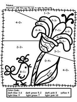 number worksheets simple addition and color by numbers on pinterest