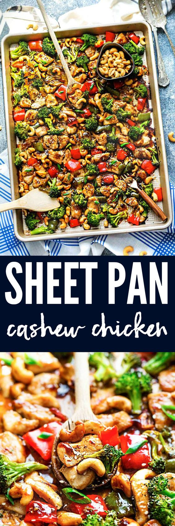 Sheet Pan Cashew Chicken Baked Supper Recipe via The Recipe Critic - This is an all in one meal with the amazing flavors of the popular takeout dish. Tender chicken surrounded by crisp and tender veggies with crunchy cashews and an incredible sweet and savory sauce.