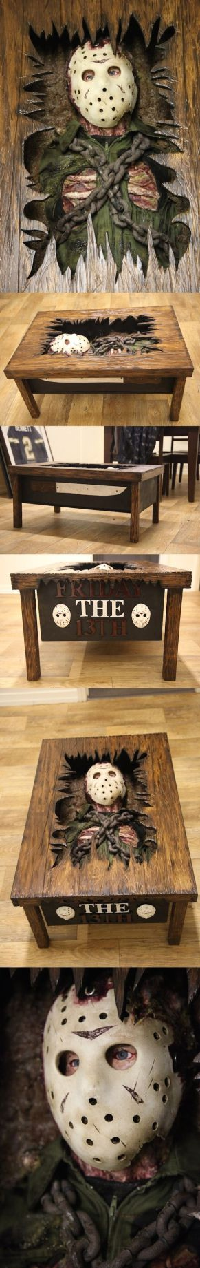 This Friday The 13th Coffee Table Features Jason's Grave Escape This Friday the 13th Coffee Table is a table and prop replica in one. This one of a kind collectible features Jason in his iconic mask as he's escaping his grave. Talk about a conversation piece!: