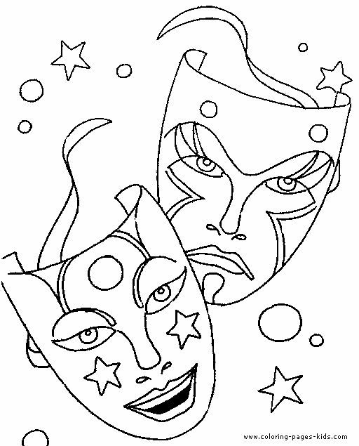 tragedy drama coloring pages theatre masks pinterest coloring