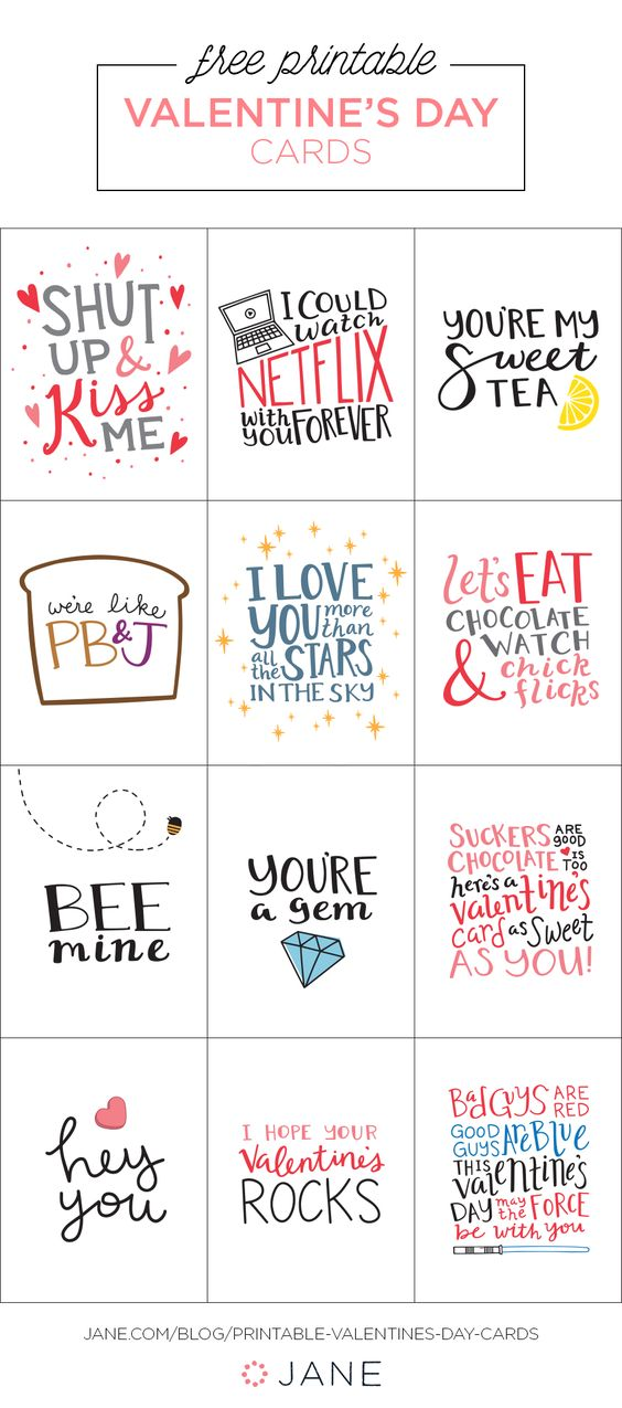 Free Printable Valentines Day Cards and Gift Tags landeelu – Printable Valentine Day Card