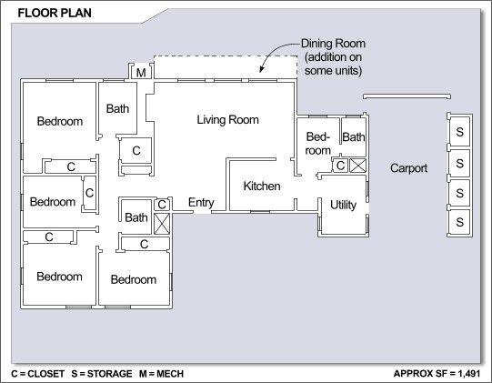 Las Palmeras Neighborhood: 4 Bedroom Home Floor