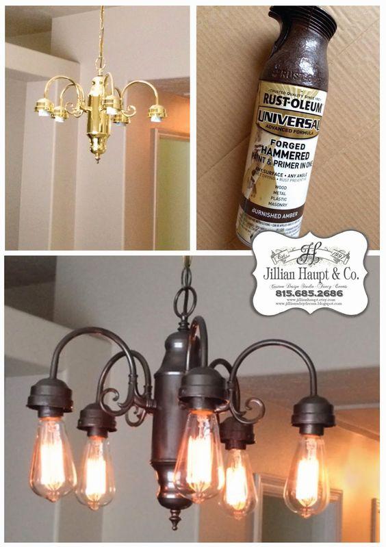 Jillian's Daydream: Being Frugal, spray paint light fixture, edison bulbs, industrial: