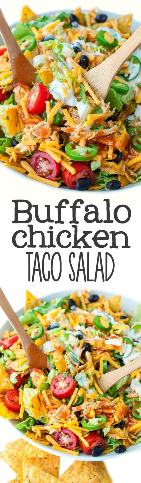 Buffalo Chicken Taco Salad Recipe via Peas and Crayons - This is totally my new favorite way to use up leftover chicken!: