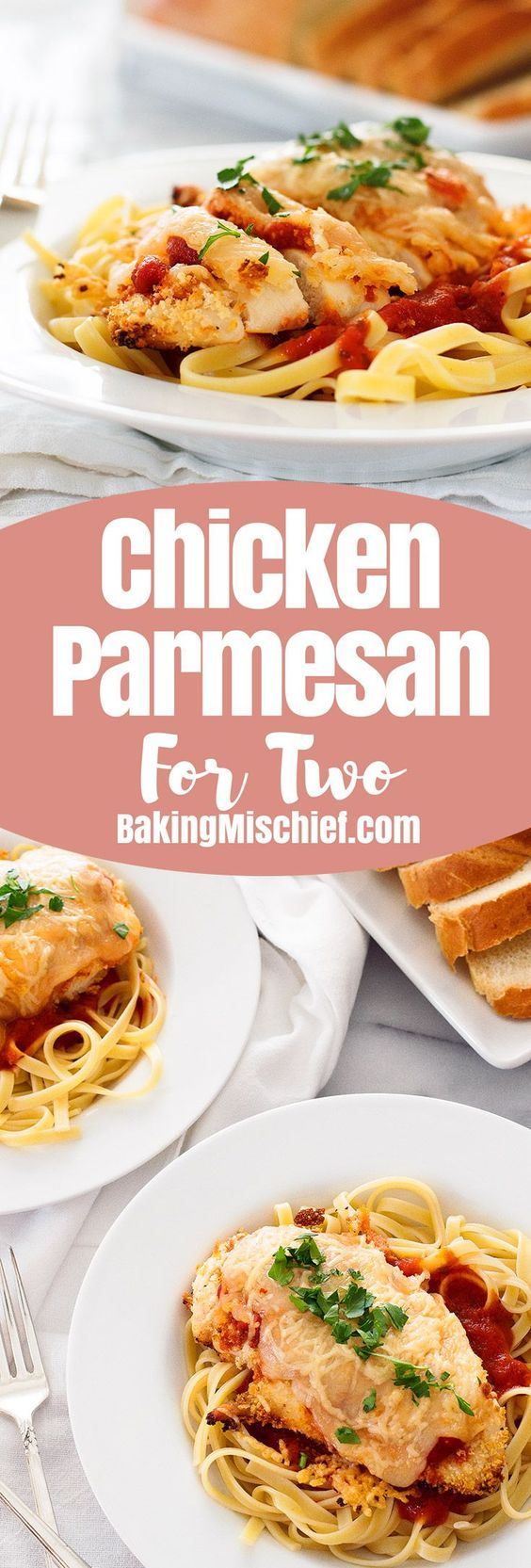 Quick and easy baked Chicken Parmesan for Two Recipe via Baking Mischief can be on your table in under half an hour and is a fantastic, filling weeknight meal when you have a craving for pasta.
