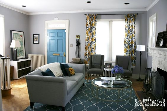 Gray Teal Amp Gold Living Room With Teal Trellis Rug Gray