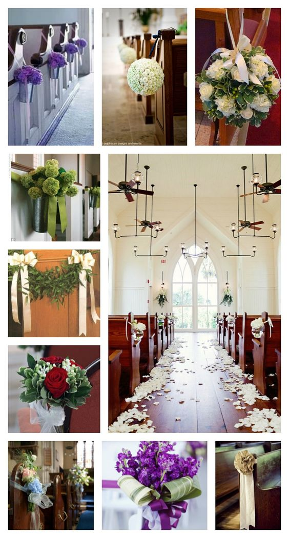 Some church wedding pew ideas and inspirations! Simple ...