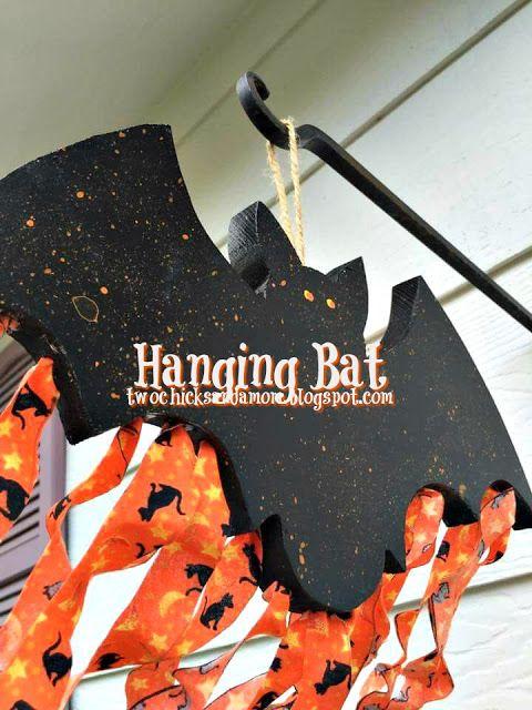 twochicksandamom.blogspot.com: Hanging Halloween Bat:
