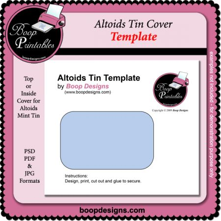 Cover Template Altoids Tins And Tins On Pinterest