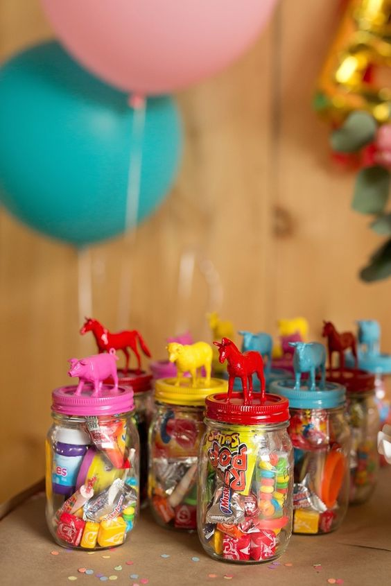 Glam Barnyard Birthday Party Treats Favor Jars | Kara's Party Ideas