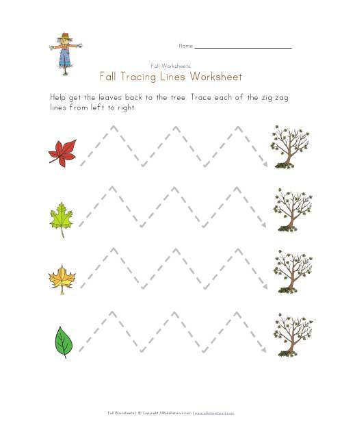 fall tracing zig zag lines worksheet crafts and worksheets for