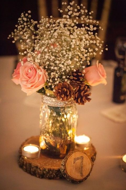 Mason Jars DIY Wedding Centerpiece Decor