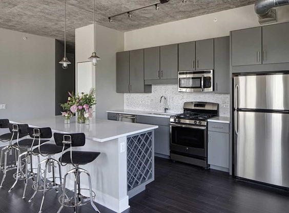Gray Kitchen Cabinets With Stainless Steel Appliances ...