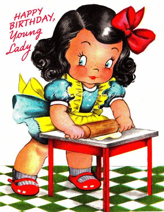 Little Girl Baking Greetings Card Vintage Digital