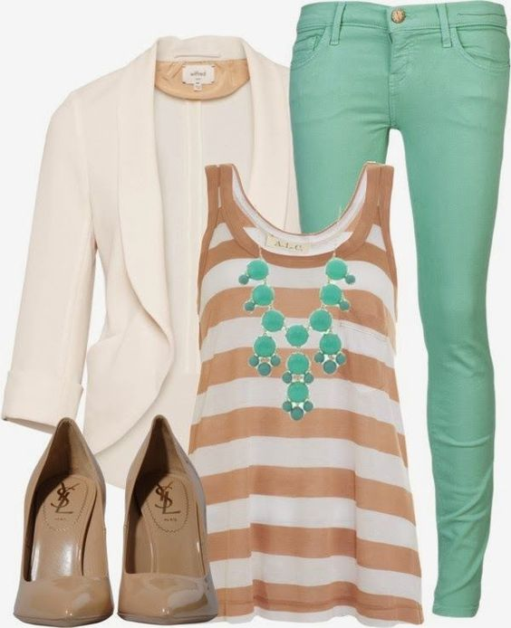 I'm really thinking about buying some blazers - they look so trendy, smart, etc. Love the white and mint green combo.: