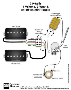 Seymour Duncan PRails wiring diagram  2 PRails, 1 Vol, 3 Way & onoffon Mini Toggle | Tips