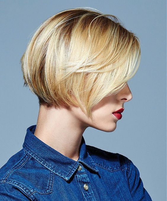 Short Bob With Angled Side Swept Bang Short Bobs