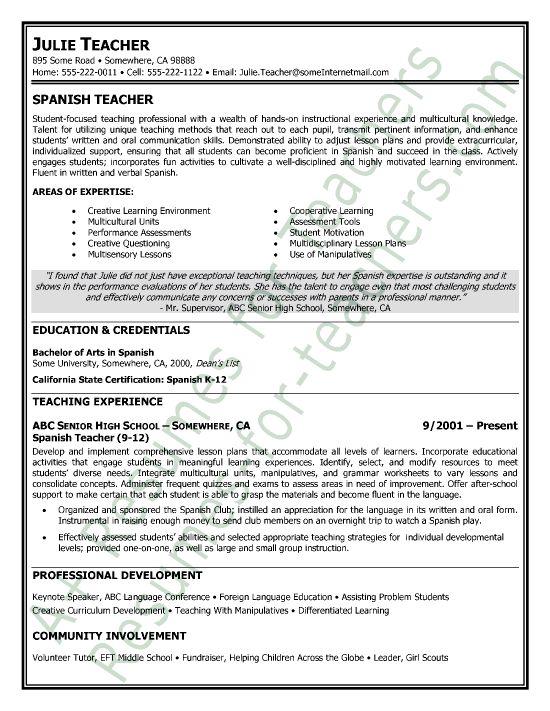 spanish teacher spanish teaching resume sample great resume