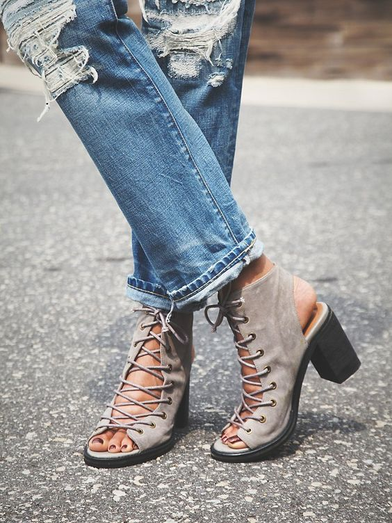 Jeffrey Campbell + Free People Minimal Lace Up Heel at Free People Clothing Boutique: