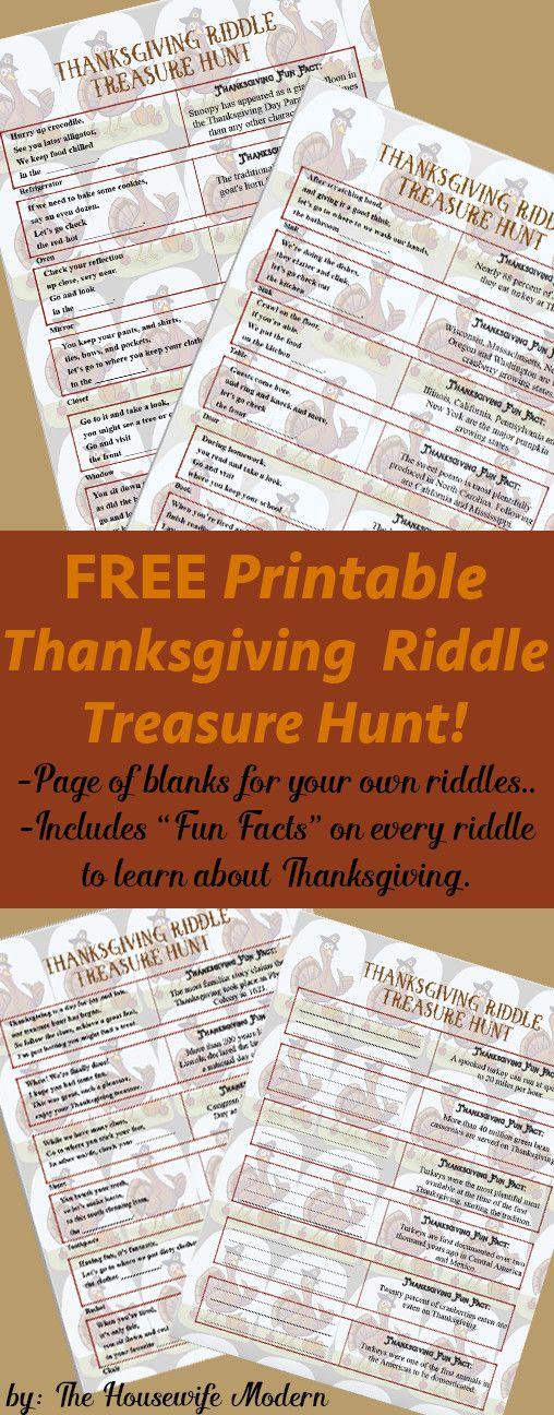 Free Printable Thanksgiving Riddle Treasure Hunt 18 Mix